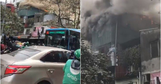 Hà Nội: Cháy lớn nhà dân ngay cạnh chợ Mơ, cột khói dày đặc bốc cao hàng chục mét