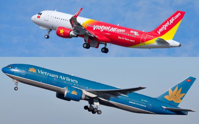 Không chỉ cạnh tranh trên bầu trời, Vietnam Airlines và Vietjet còn so kè quyết liệt về giá trị thị trường