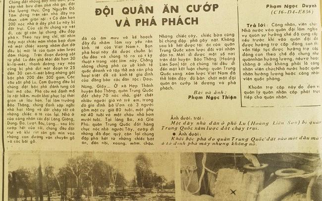 Năm 1979, báo QĐND viết về chiến tranh biên giới: Quân Trung Quốc là đội quân ăn cướp và phá phách