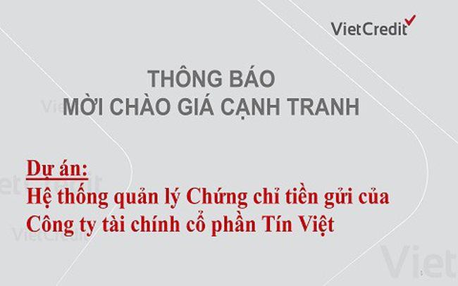 VietCredit thông báo mời chào giá cạnh tranh