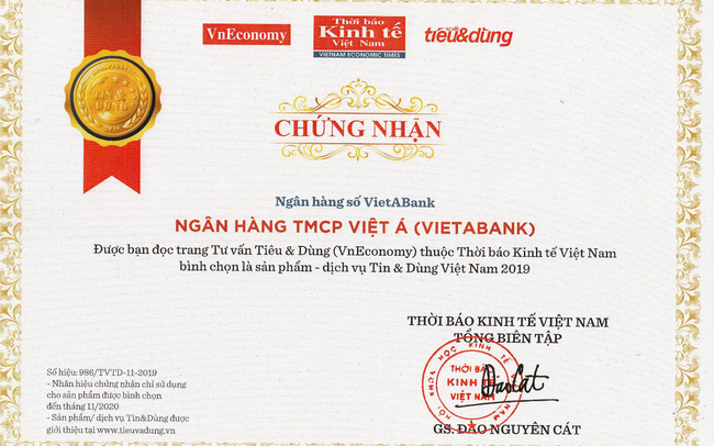VietABank nhận giải thưởng Top 100 sản phẩm, dịch vụ Tin & Dùng Việt Nam 2019