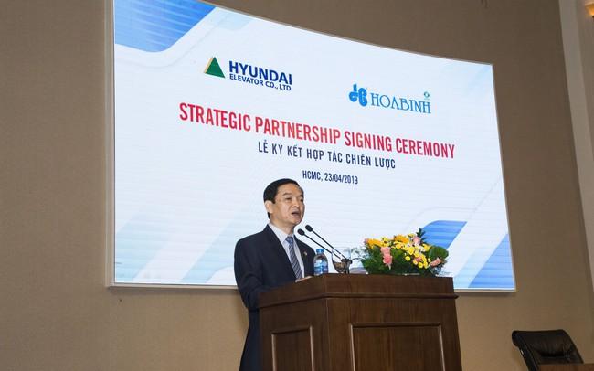 Hòa Bình ký kết thỏa thuận phát hành riêng lẻ 25 triệu cổ phiếu cho Hyundai Elevator
