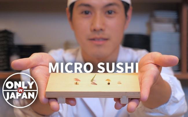 Không làm món khổng lồ như bà Tân, đầu bếp Nhật làm sushi bé tí như hạt gạo cũng đủ khiến người ta trầm trồ