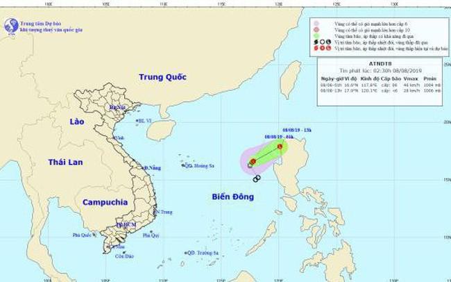 Áp thấp nhiệt đới suy yếu dần, cách quần đảo Hoàng Sa 570km