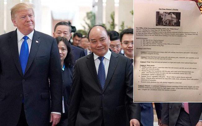 Chi tiết thực đơn bữa trưa của Tổng thống Donald Trump và Thủ tướng Nguyễn Xuân Phúc