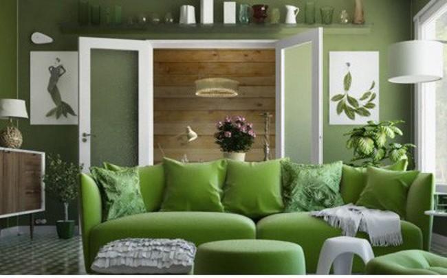 Phòng khách có màu xanh lá cây tạo cảm giác gần gũi với thiên nhiên