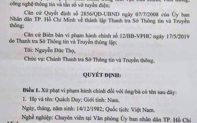 Một chuyên viên Văn phòng UBND TP HCM bị phạt do xúc phạm lãnh đạo