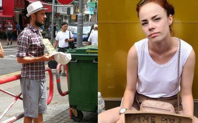 """Loạt ảnh về """"đại dịch"""" Tây ba lô ăn xin đang lan truyền khắp châu Á: """"Hãy cho tôi tiền đi vòng quanh thế giới"""""""