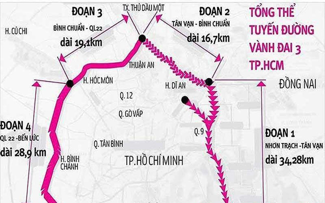 Lý do đường vành đai 3 và 4 TP.HCM chậm triển khai