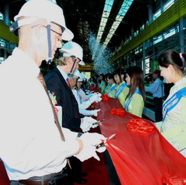 Hyundai Vinashin khởi công đóng mới chiếc tàu đầu tiên