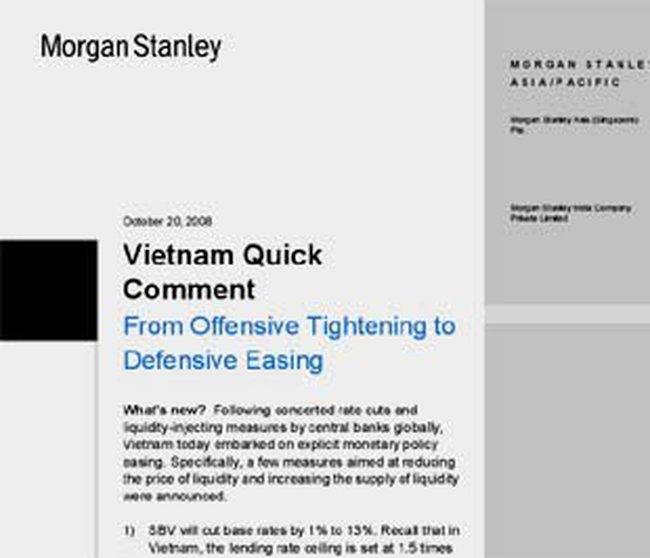 Morgan Stanley đánh giá động thái mới của NHNN Việt Nam