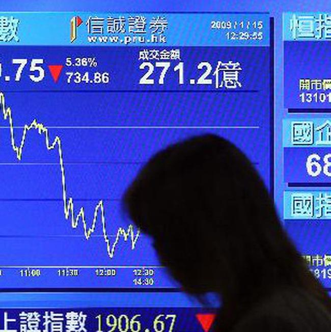 Châu Á giảm điểm, thị trường Trung Quốc giảm mạnh nhất trong 8 tháng