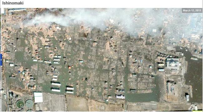 Hình ảnh 2 thành phố của Nhật gần như bị xóa sổ sau động đất, sóng thần