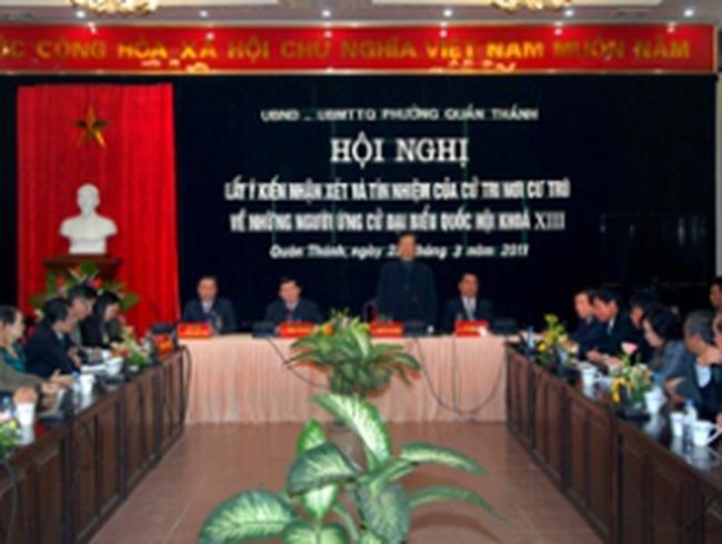 Cử tri nơi cư trú nhất trí giới thiệu các đồng chí Nguyễn Tấn Dũng, Trương Tấn Sang, Lê Hồng Anh ứng cử ĐBQH khóa XIII