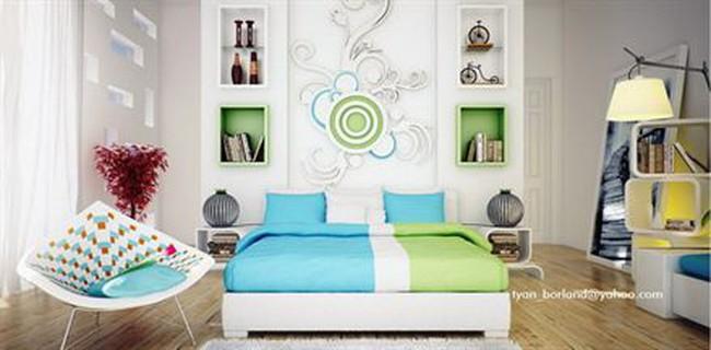 Phòng ngủ đẹp với tone xanh