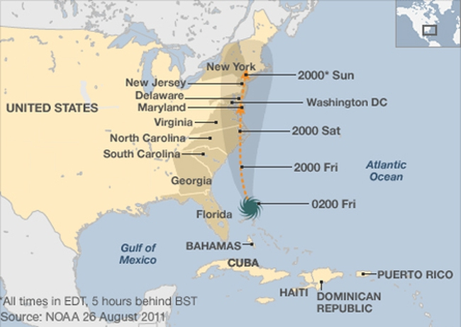 Nước Mỹ có thể mất tới 12 tỷ USD do bão Irene