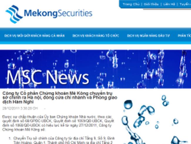 Chứng khoán Mê Kông chuyển trụ sở chính ra Hà nội, đóng cửa CN và PGD Hàm Nghi