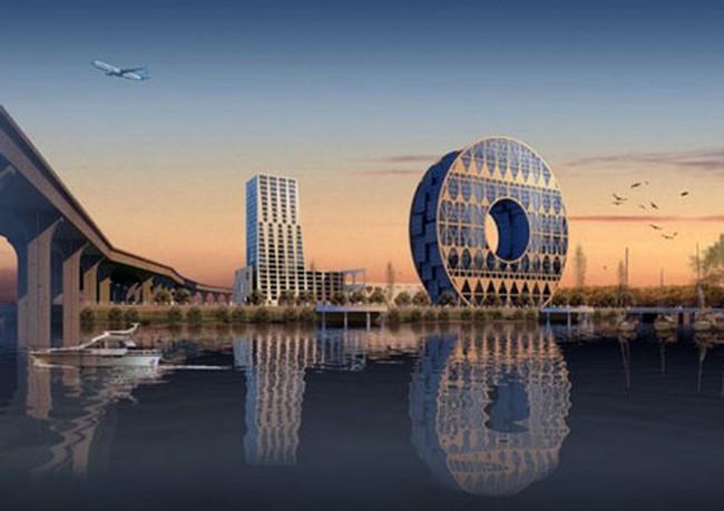 Trung Quốc xây tòa nhà hình... đồng xu thủng