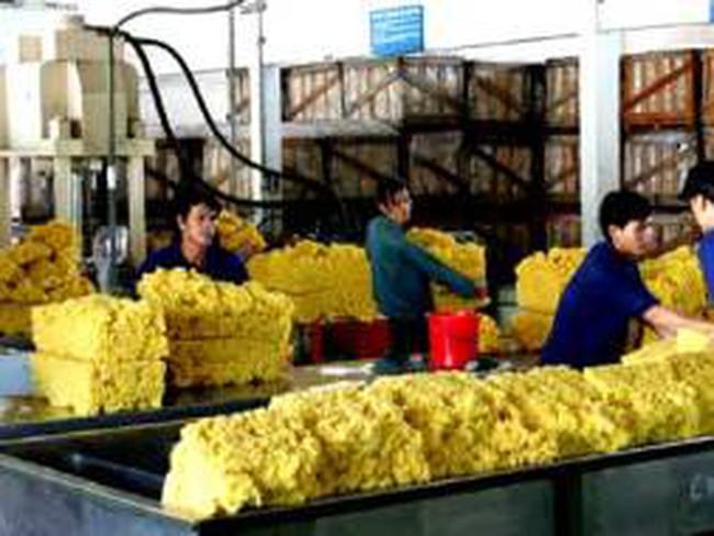 Lượng cao su chờ xuất qua cửa khẩu Móng Cái tăng mạnh