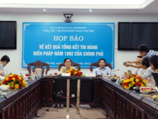 Bộ Tư pháp họp báo về tổng kết thi hành Hiến pháp năm 1992 của Chính phủ