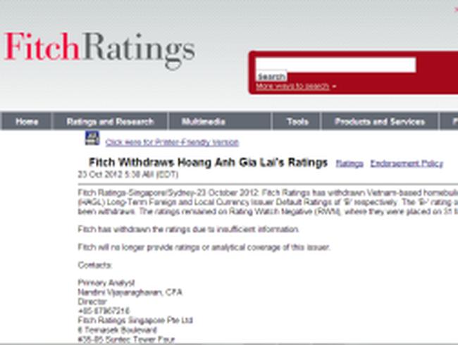 Fitch rút xếp hạng tín dụng của Hoàng Anh Gia Lai