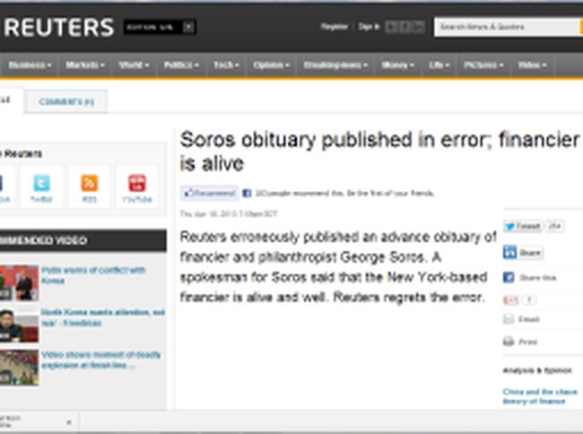 Nhầm lẫn, Reuters đưa tin George Soros qua đời