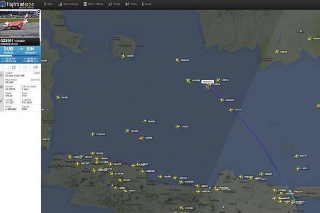 Xác định vị trí máy bay mất tích của AirAsia phát tín hiệu cuối cùng