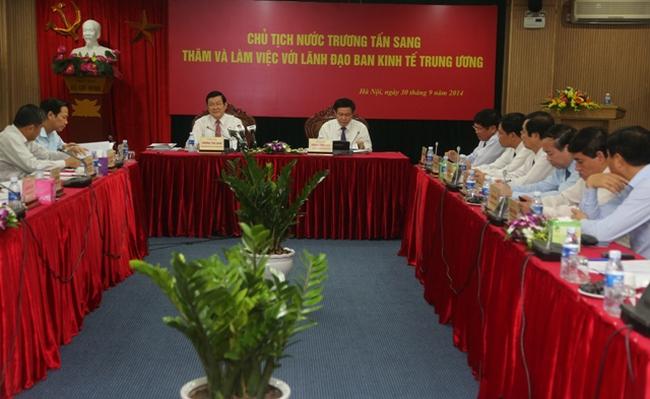 Chủ tịch nước làm việc với Ban Kinh tế Trung ương