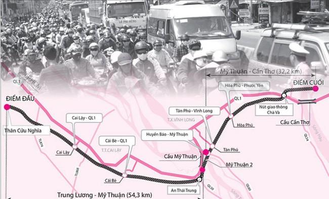 Giảm quy mô đường Trung Lương - Cần Thơ cho vừa túi tiền