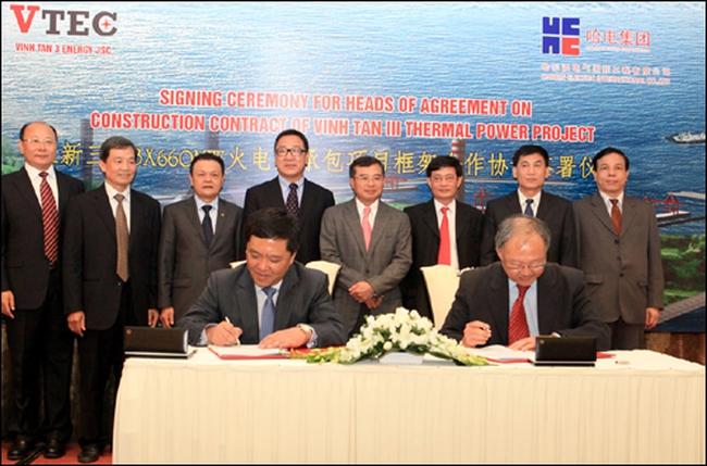 Ký thỏa thuận xây dựng nhiệt điện Vĩnh Tân 3