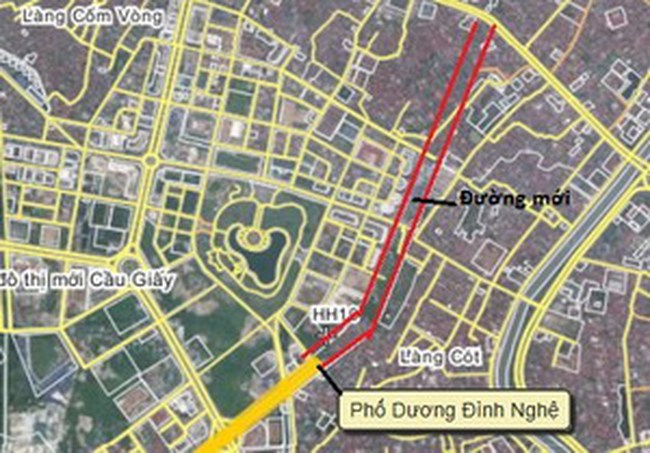Hà Nội làm đường nối Cầu Giấy vào KĐT Dịch Vọng