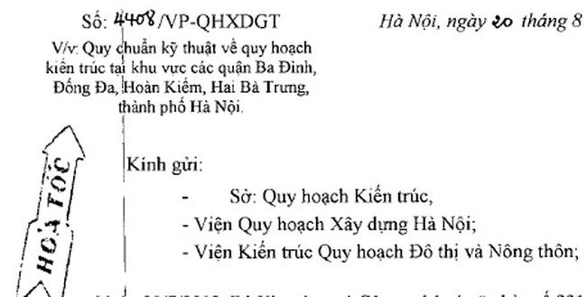 Công văn hỏa tốc của Hà Nội về quy chuẩn quy hoạch 4 quận nội đô