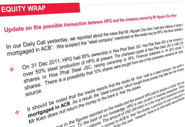 Công ty đầu tư ACB Hà Nội đã bán số cổ phiếu bị thế chấp cho Tập đoàn Hòa Phát