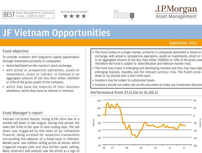 Cập nhật danh mục quỹ JF Vietnam Opportunities tháng 9/2012