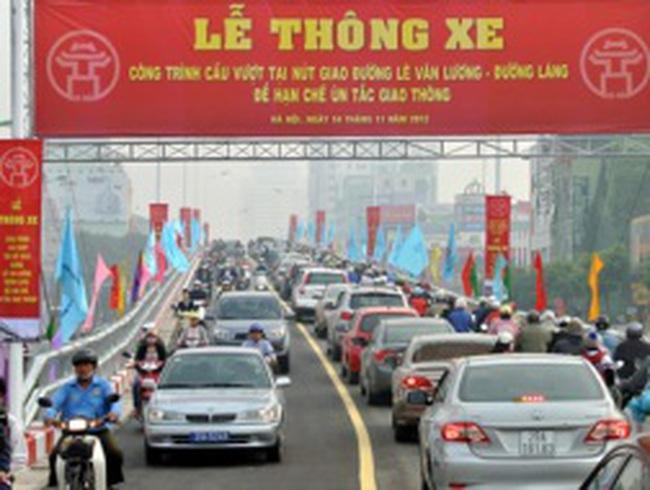 Hà Nội thông xe cầu vượt lắp ghép Láng Hạ - Lê Văn Lương