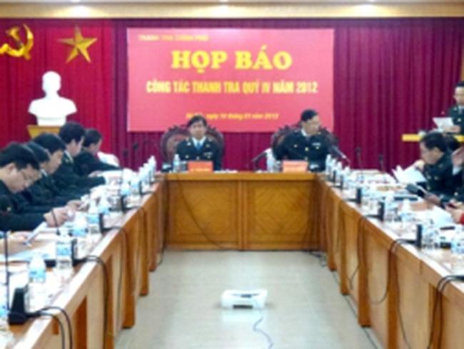 Thanh tra Chính phủ thông báo kết quả thanh tra quý IV/2012