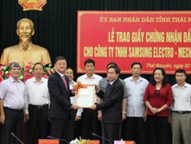 Samsung nhận giấy phép dự án 1,2 tỷ USD tại Thái Nguyên