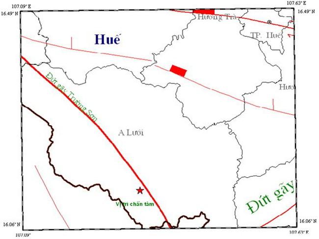 Động đất 2,9 độ richter tại A Lưới