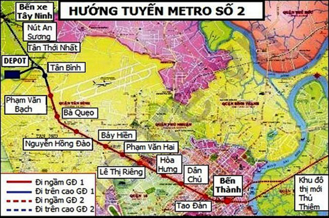 Đầu năm 2016, khởi công tuyến metro số 2