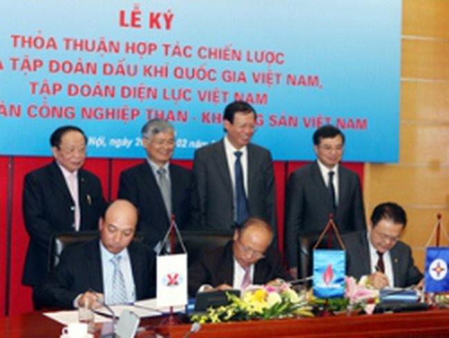 Ba tập đoàn lớn PVN, EVN, TKV thỏa thuận hợp tác chiến lược