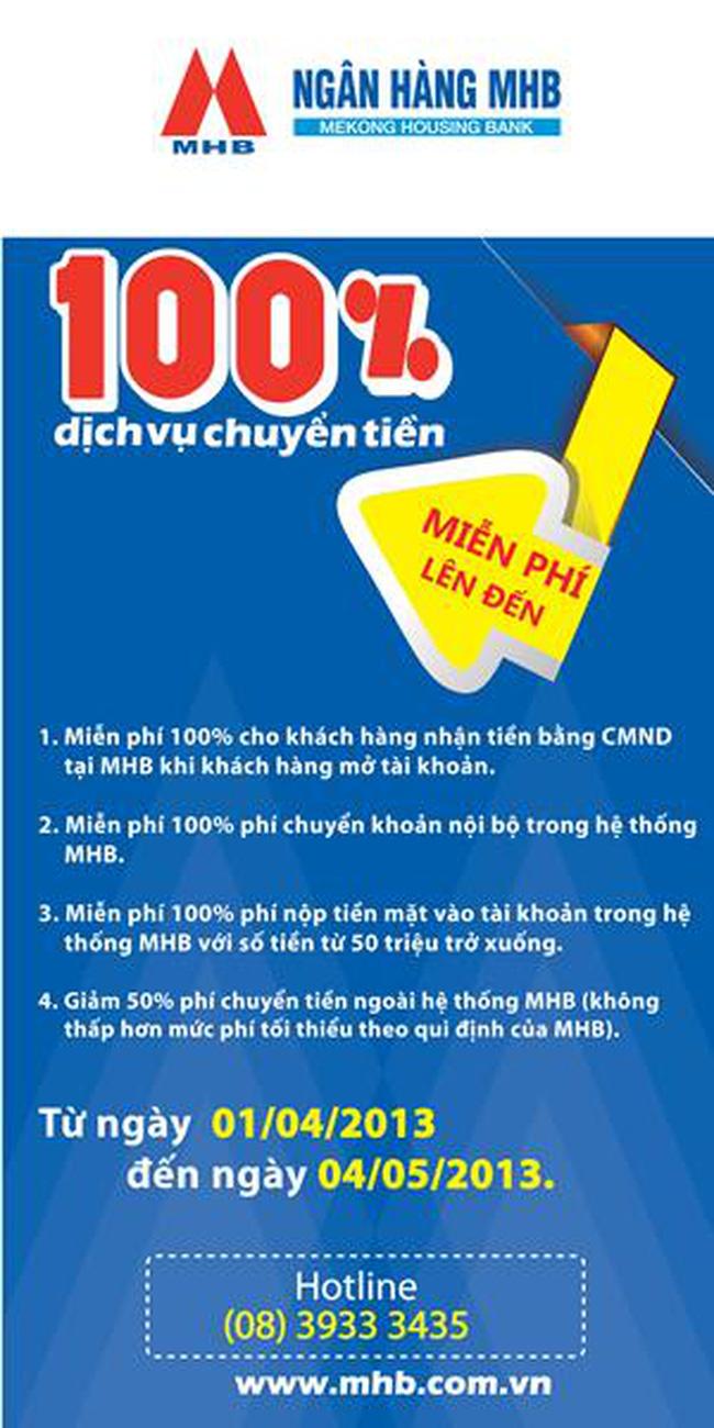 MHB miễn phí chuyển tiền lên đến 100%
