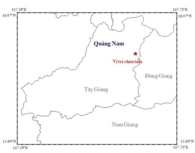 Động đất 3,4 độ richter ở Quảng Nam