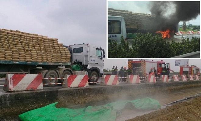 Xe đầu kéo bốc cháy, hàng nghìn phương tiện 'chôn chân' trên cao tốc