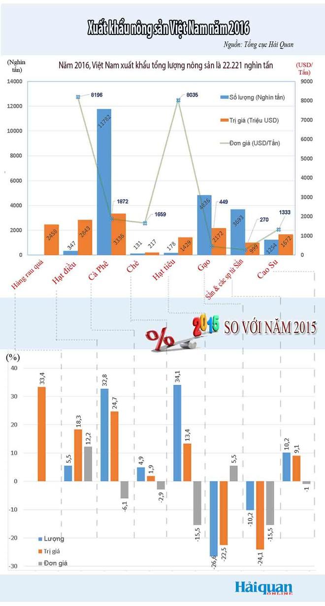 [Infographic] Toàn cảnh nhóm hàng nông sản trong năm 2016