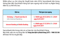 Sacombank sẽ tạm ngưng dịch vụ internet banking và mobile banking từ tối 31/12 đến tối 01/01