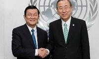 Chủ tịch nước Trương Tấn Sang gặp Tổng Thư ký LHQ