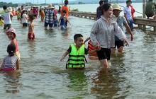 Tỉnh lộ ngập sâu, dân thôn ở Hà Nội nô nức đi bắt cá, cho trẻ ra bơi