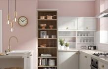 Phòng bếp ấm cúng có gam màu hồng