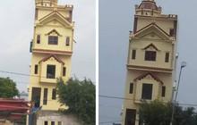 """Xôn xao hình ảnh ngôi nhà 5 tầng ở Hà Nam vừa xây xong đã nghiêng như """"tháp nghiêng Pisa"""""""