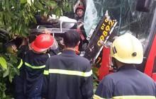 Xe khách tông xe máy, lao vào gốc cây khiến 39 hành khách mắc kẹt, la hét cầu cứu